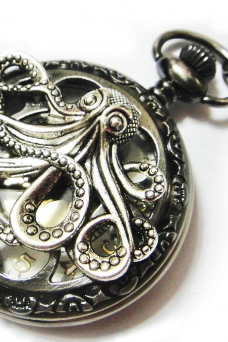 Octopus Large Steampunk Dark Grey Pocket Watch Necklace - Gray Pendant Necklace Chain